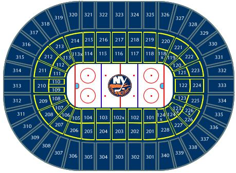 nassau coliseum seating chart. New York Islanders Seating